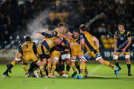 Stock Image of Rob Hawkins and Ian Evans of Bristol Rugby in action at a maul