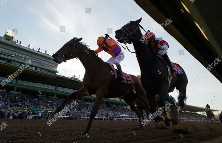Mike Smith, Gary Stevens Gary Stevens celebrates after Beholder, left, defeated Songbird, ridden by Mike Smith, in the Breeders' Cup Distaff horse race at Santa Anita, in Arcadia, Calif