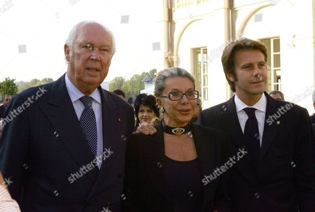 Vittorio Emanuele with wife Marina Doria and son Emanuele Filiberto attend the inauguration of the Royal Palace of Venaria, Palace of Savoia family, which has taken 7 years and 250 million euros to restore