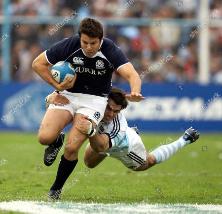 Hugo Southwell, Gonzalo Tiesi Scotland's Hugo Southwell, left, is tackled by Argentina's Pumas Gonzalo Tiesi during a rugby match in Tucuman, Argentina