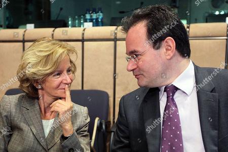Giorgos Papakonstantinou, Elena Salgado Greek Finance Minister Giorgos Papakonstantinou, right, with Spain's Finance Minister Elena Salgado during a Eurogroup meeting in Brussels