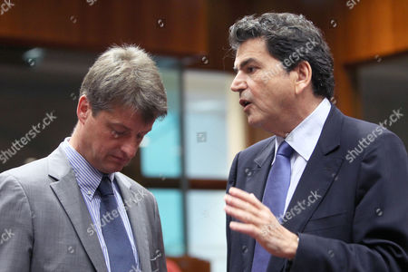 Olivier Chastel, Pierre Lellouche France's European Affairs Minister Pierre Lellouche, right, talks with Belgium's counterpart Olivier Chastel at the start of an EU General Affairs meeting at the EU Council in Brussels