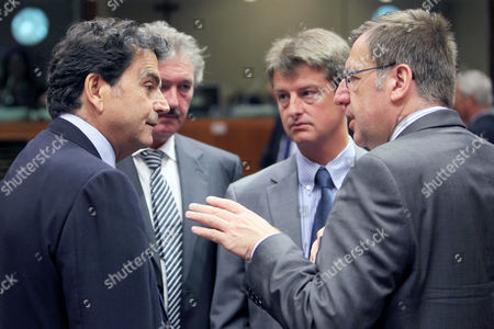 Steven Vanackere, Pierre Lellouche, Olivier Chastel, Jean Asselborn France's European Affairs Minister Pierre Lellouche, left, talks with Belgium's Foreign Minister Steven Vanackere, Belgium's Secretary of State for European Affairs Olivier Chastel, 2nd right, and Luxembourg's Foreign Minister Jean Asselborn at the start of an EU General Affairs meeting at the EU Council in Brussels