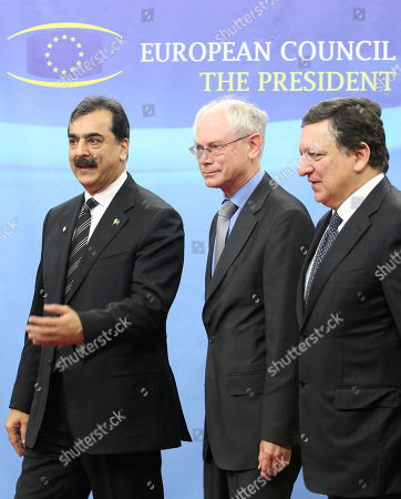 Syed Yousuf Raza Gilani, Jose Manuel Barroso, Herman Van Rompuy Pakistan's Prime Minister Syed Yousuf Raza Gilani, left, talks with European Commission President Jose Manuel Barroso, right, and European Council President Herman Van Rompuy, at the European Council building in Brussels