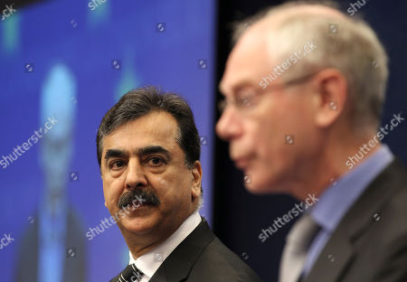 Syed Yousuf Raza Gilani, Herman Van Rompuy Pakistan's Prime Minister Syed Yousuf Raza Gilani, left, looks at European Council President Herman Van Rompuy as they address the media at the European Council building in Brussels