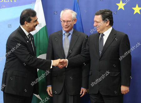 Syed Yousuf Raza Gilani, Jose Manuel Barroso, Herman Van Rompuy Pakistan's Prime Minister Syed Yousuf Raza Gilani, left, shakes hands with European Commission President Jose Manuel Barroso, right, and European Council President Herman Van Rompuy, at the European Council building in Brussels