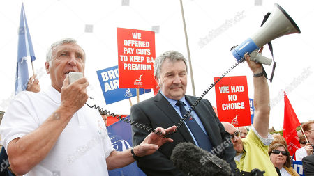 Tony Woodley, Derek Simpson Joint Unite union leader Tony Woodley, left, and co leader Derek Simpson, speaking to union members during a rally near London's Heathrow Airport Wednesday, May, 26, 2010. The Unite union is continuing its industrial action against BA on behalf of its cabin crew union members, with the airline able to operate limited capacity on some short haul routes though near normal on their long haul destinations