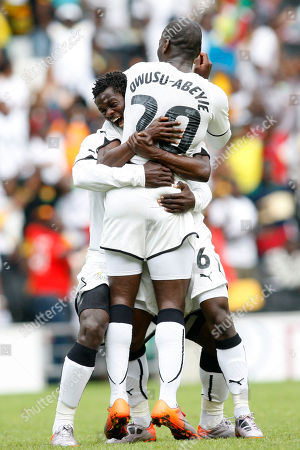 Quincy Owusu Abeyie Ghana's Quincy Owusu Abeyie, front, celebrates his goal against Latvia with teammates during their friendly soccer match at Stadium MK in Milton Keynes, England, . Ghana is preparing for the South Africa World Cup tournament which begins on June 11