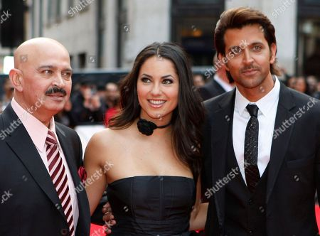 Rakesh Roshan, Barbara Mori, Hrithik Roshan Indian producer Rakesh Roshan, left, with the two stars Mexican actress Barbara Mori, center, and Indian actor Hrithik Roshan, pose for the photographers as they arrive for the European film premiere of their latest film 'Kites', in a central London cinema
