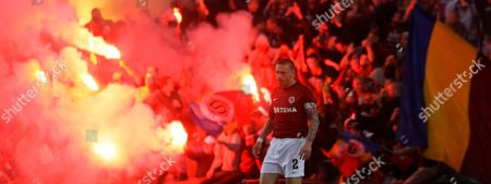 Tomas Repka of Sparta Prague looks on after scoring against Teplice during the Czech soccer league match in Prague, Czech Republic, . Spartta won the match 1-0 and gained the Czech league soccer title