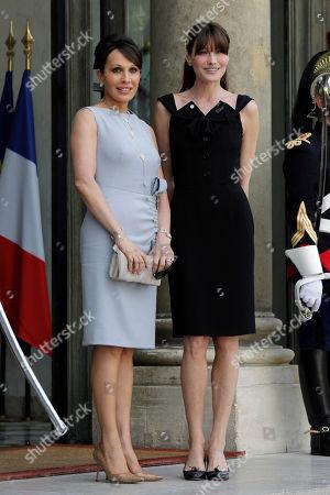 Carla Bruni-Sarkozy, Sylvia Bongo Ondimba French first lady Carla Bruni-Sarkozy, right, welcomes first lady of Gabon Sylvia Bongo Ondimba, left, at the Elysee Palace, in Paris