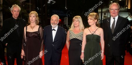 """Dick Pope, Ruth Sheen, Mike Leigh, Georgina Lowe, Lesley Manville, Jim Broadbent From left, cinematographer Dick Pope, actress Ruth Sheen, director Mike Leigh, producer Georgina Lowe, actress Lesley Manville, and actor Jim Broadbent arrive for the premiere of """"Another Year"""", at the 63rd international film festival, in Cannes, southern France"""