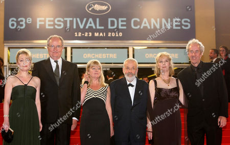 """Lesley Manville, Jim Broadbent, Georgina Lowe, Mike Leigh, Ruth Sheen, Dick Pope From left, actress Lesley Manville, actor Jim Broadbent, producer Georgina Lowe, director Mike Leigh, actress Ruth Sheen, and cinematographer Dick Pope arrive for the premiere of """"Another Year"""", at the 63rd international film festival, in Cannes, southern France"""