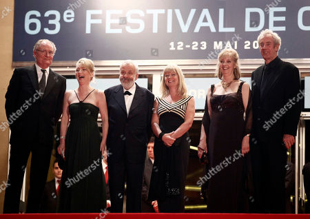 """Jim Broadbent, Lesley Manville, Mike Leigh, Georgina Lowe, Ruth Sheen, Dick Pope From left, actor Jim Broadbent, actress Lesley Manville, director Mike Leigh, producer Georgina Lowe, actress Ruth Sheen and cinematographer Dick Pope arrive for the premiere of """"Another Year"""", at the 63rd international film festival, in Cannes, southern France"""