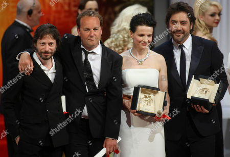 Mathieu Almaric, Xavier Beauvois, Juliette Binoche, Javier From left, Mathieu Almaric, winner of the Best Director award, Xavier Beauvois, winner of the Grand Prix award, Juliette Binoche, winner of the Best Actress award, and Javier Bardem, joint winner of the Best Actor award, gather on stage during the awards ceremony at the 63rd international film festival, in Cannes, southern France