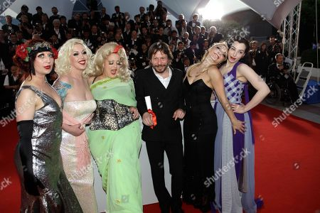 Mathieu Amalric, Kitten on the Keys, Mimi Le Meux, Dirty Martini, Julie Atlas Muz, Evie Lovelle Winner of the award for Best Director director Mathieu Amalric, fourth from right, and actresses, from left, Kitten on the Keys, Mimi Le Meux, Dirty Martini, Julie Atlas Muz and Evie Lovelle pose after the awards ceremony at the 63rd international film festival, in Cannes, southern France