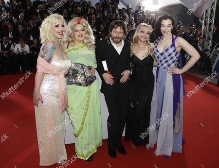Mathieu Amalric, Mimi Le Meux, Dirty Martini, Julie Atlas Muz, Evie Lovelle Winner of the award for Best Director director Mathieu Amalric, third from right, and actresses, from left, Mimi Le Meux, Dirty Martini, Julie Atlas Muz and Evie Lovelle pose after the awards photo call at the awards ceremony at the 63rd international film festival, in Cannes, southern France