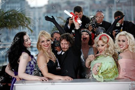 Evie Lovelle, Julie Atlas Muz, Mathieu Amalric, Dirty Martini, Mimi Le Meux Winner of the award for Best Director director Mathieu Amalric, third from right, and actresses, from right, Mimi Le Meux, Dirty Martini, Julie Atlas Muz and Evie Lovelle pose after the awards photo call at the awards ceremony at the 63rd international film festival, in Cannes, southern France