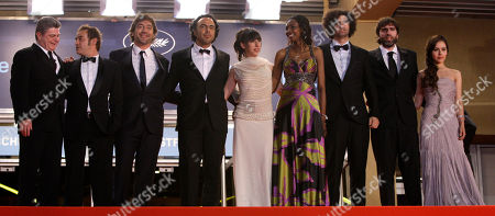 "Javier Bardem, Alejandro Gonzalez, Maricel Alvarez Actor Eduard Fernandez, second from left, actor Javier Bardem, third from left, director Alejandro Gonzalez Inarritu, fourth from left, actress Maricel Alvarez, fifth from left, actress Diaryatou Daff, fourth from right, actress Martina Garcia, right, and unidentified guests leave after the premiere of ""Biutiful"", at the 63rd international film festival, in Cannes, southern France"