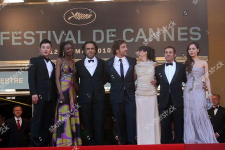 "Diaryatou Daff, Alejandro Gonzalez Inarritu, Javier Bardem, Maricel Alvarez, Eduard Fernandez, Martina Garcia From right, actress Martina Garcia, actor Eduard Fernandez, actress Maricel Alvarez, actor Javier Bardem, director Alejandro Gonzalez Inarritu, actress Diaryatou Daff and an unidentified guest arrive for the screening of ""Biutiful"", at the 63rd international film festival, in Cannes, southern France"