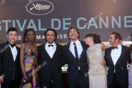 "Diaryatou Daff, Alejandro Gonzalez Inarritu, Javier Bardem, Maricel Alvarez, Eduard Fernandez From right, actor Eduard Fernandez, actress Maricel Alvarez, actor Javier Bardem, director Alejandro Gonzalez Inarritu, actress Diaryatou Daff and an unidentified guest arrive for the screening of ""Biutiful"", at the 63rd international film festival, in Cannes, southern France"