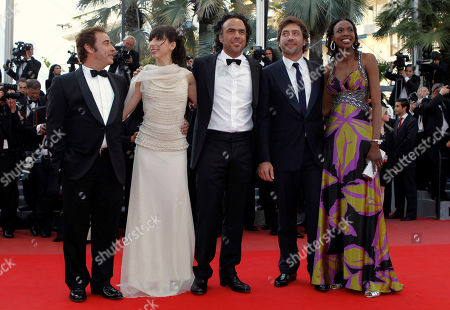 "Eduardo Fernandez, Maricel Alvarez, Alejandro, Gonzalez Inarritu, Javier Bardem, Diaryatou Daff From left, Eduardo Fernandez, actress Maricel Alvarez, director Alejandro Gonzalez Inarritu, actor Javier Bardem and actress Diaryatou Daff arrive for the screening of ""Biutiful"", at the 63rd international film festival, in Cannes, southern France"