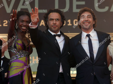 "Diaryatou Daff, Alejandro Gonzalez Inarritu, Javier Bardem From left, actress Diaryatou Daff, director Alejandro Gonzalez Inarritu, and actor Javier Bardem arrive for the screening of ""Biutiful"", at the 63rd international film festival, in Cannes, southern France"