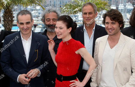 "Olivier Assayas, Dan Franck, Nora Von Waldstatten, Daniel Leconte, Edgar Ramirez From left, director Olivier Assayas, actor Dan Franck, actress Nora Von Waldstatten, actor Daniel Leconte, and actor Edgar Ramirez pose during a photo call for the film ""Carlos"", at the 63rd international film festival, in Cannes, southern France"