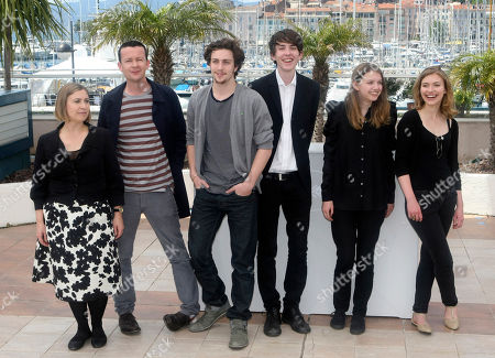 "Aaron Johnson, Matthew Beard, Hannah Murray, Imogen Poots Producer Laura Hastings-Smith, left, writer Enda Walsh, second from left, and actors Aaron Johnson, third from left, Matthew Beard, third from right, Hannah Murray, second from right, and Imogen Poots, right, pose during a photo call for ""Chatroom"", at the 63rd international film festival, in Cannes, southern France"