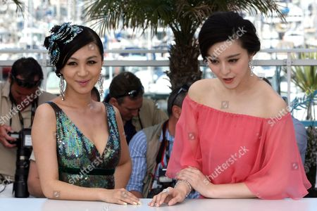"Li Feier, Fan Bingbing Actresses Li Feier, left, and Fan Bingbing pose during a photo call for ""Chongqing Blues"", at the 63rd international film festival, in Cannes, southern France"