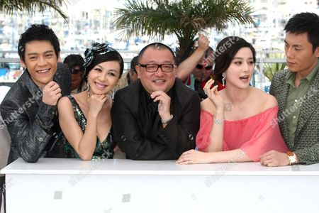 "Zi Yi, Li Feier, Wang Ziaoshuai, Fan Bingbing, Qing Hao From left, actor Zi Yi, actress Li Feier, director Wang Ziaoshuai, actress Fan Bingbing and actor Qing Hao pose during a photo call for ""Chongqing Blues"", at the 63rd international film festival, in Cannes, southern France"