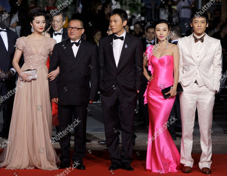 "Fan Bingbing, Wang Xiaoshuai, Zi Yi, Li Feier, Qing Hao From left, actress Fan Bingbing, director Wang Xiaoshuai, actor Zi Yi, actress Li Feier and actor Qing Hao arrive for the screening of ""Chongqing Blues"", at the 63rd international film festival, in Cannes, southern France"