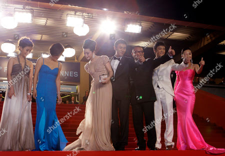 "Fan Bingbing, Wang Xiaoshuai, Zi Yi, Qing Hao, Li Feier Actors, third from left, Fan Bingbing, director Wang Xiaoshuai, Zi Yi, Qing Hao and Li Feier arrive for the screening of ""Chongqing Blues"", at the 63rd international film festival, in Cannes, southern France"