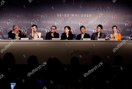"Yves Montmayeur, Fan Bingbing, Wang Xiaoshuai, Qin Hao, Qin Hao. Zi Yi, Li Feier From left, Yves Montmayeur, actress Fan Bingbing, director Wang Xiaoshuai, Qin Hao, actor Qin Hao. actor Zi Yi and actress Li Feier attend a press conference for ""Chongqing Blues"", at the 63rd international film festival, in Cannes, southern France"