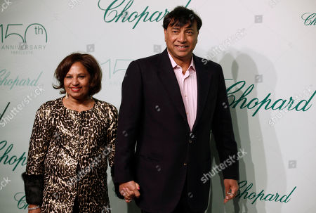 Lakshmi Mittal, Usha Mittal CEO ArcelorMittal Lakshmi Mittal and wife Usha Mittal arrive for the Chopard 150th anniversary party, during the 63rd international film festival, in Cannes, France