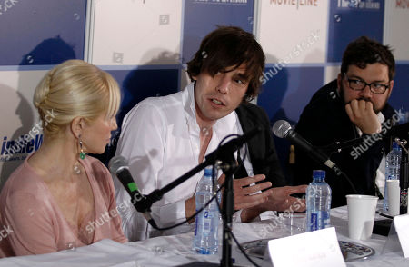 """Ellen Barkin, Cam Archer, Jay Van Hoy From left, actress Ellen Barkin, director Cam Archer and producer Jay Van Hoy speak during the Industry in Focus """"Shit Year"""" panel discussion at the American Pavillion, at the 63rd international film festival, in Cannes, southern France"""