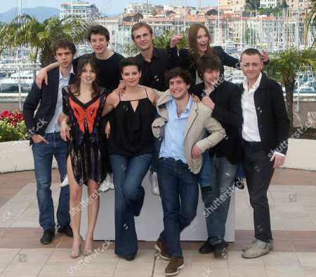 """Yvan Tassing, Audrey Bastien, Arthur Mazet, Selma El Moussi, Fabrice Gobert, Esteban Carvajal-Alegria, Ana Girardot, Laurent Delbecque, Jules Pelissier From left, actor Yvan Tassin, actress Audrey Bastien, actor Arthur Mazet, actress Selma El Moussi, director Fabrice Gobert, actor Esteban Carvajal-Alegria, actress Ana Girardot, actor Laurent Delbecque, and actor Jules Pelissier pose during a photo call for the film """"Lights Out"""", at the 63rd international film festival, in Cannes, southern France"""