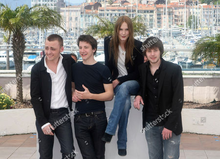 """Jules Pelissier, Arthur Mazet, Ana Girardot, Laurent Delbecque From left, actors Jules Pelissier, Arthur Mazet, actress Ana Girardot and actor Laurent Delbecque pose during a photo call for the film """"Lights Out"""", at the 63rd international film festival, in Cannes, southern France"""