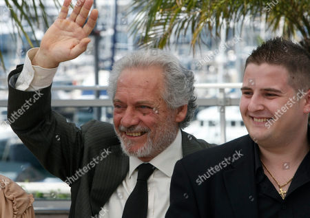 "Giorgio Colangeli, Marius Ignat Actors Giorgio Colangeli and Marius Ignat pose during a photo call for the film ""Our Life"" (La Nostra Vita), at the 63rd international film festival, in Cannes, southern France"