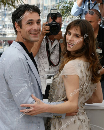 """Stefania Montorsi, Raoul Bova Actress Stefania Montorsi, right, and actor Raoul Bova, left, pose during a photo call for the film """"Our Life"""" (La Nostra Vita), at the 63rd international film festival, in Cannes, southern France"""