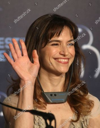 """Stefania Montorsi Actress Stefania Montorsi gestures during a press conference for the film """"Our Life"""" (La Nostra Vita), at the 63rd international film festival, in Cannes, southern France"""