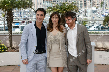 """Stefania Montorsi,Raoul Bova, Elio Germano From left, actor Raoul Bova, actress Stefania Montorsi and actor Elio Germano pose during a photo call for the film """"Our Life"""" (La Nostra Vita), at the 63rd international film festival, in Cannes, southern France"""
