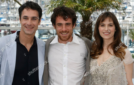 """Raoul Bova, Elio Germano, Stefania Montorsi Actor Raoul Bova, left, actor Elio Germano, center, and actress Stefania Montorsi, right, pose during a photo call for the film """"Our Life"""" (La Nostra Vita), at the 63rd international film festival, in Cannes, southern France"""