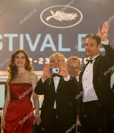 """Stefania Montorsi, Daniele Luchetti, Raoul Bova Actress Stefania Montorsi, left, director Daniele Luchetti, center, and actor Raoul Bova, right, arrive for the screening of """"Our Life"""" (La Nostra Vita), at the 63rd international film festival, in Cannes, southern France"""