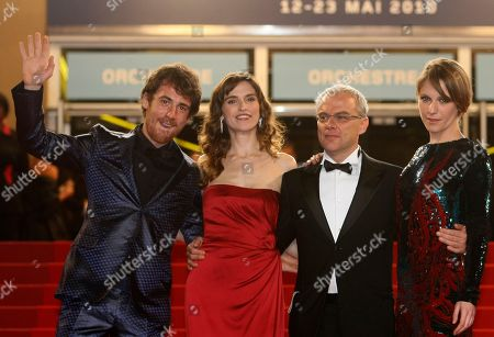 """Stock Photo of Elio Germano, Stefania Montorsi, Daniel Leconte, Isabella Ragonese From left, actor Elio Germano, actress Stefania Montorsi, actor Daniel Leconte, and actress Isabella Ragonese arrive for the screening of """"Our Life"""" (La Nostra Vita), at the 63rd international film festival, in Cannes, southern France"""