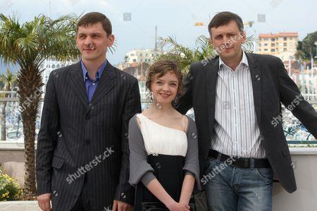 """Viktor Nemets, Olga Shuvalova, Sergi Loznitsa From left, actor Viktor Nemets, actress Olga Shuvalova and filmmaker Sergi Loznitsa pose during a photo call for the film """"Schastye Moe"""", at the 63rd international film festival, in Cannes, southern France"""