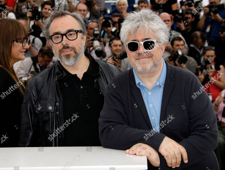 """Alejandro de la Iglesia, Pedro Almodovar Filmmaker Alejandro de la Iglesia, left, and Pedro Almodovar attend a photocall for """"Spanish Cinema Hommage"""", at the 63rd international film festival, in Cannes, southern France"""
