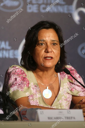 """Ana Maria Magalhaes Actress Ana Maria Magalhaes speaks during the press conference of """"Strange Case of Angelica"""", at the 63rd international film festival, in Cannes, southern France"""