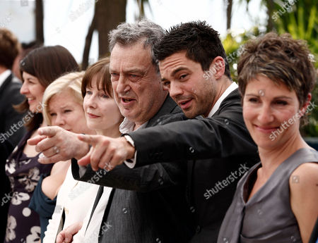 "Tamsin Greig, Dominic Cooper, Stephen Frears From right, actress Tamsin Greig, actor Dominic Cooper, director Stephen Frears, actress Posy Simmonds, an unidentified guest and actress Moira Buffini pose during a photo call for the film ""Tamara Drewe"", at the 63rd international film festival, in Cannes, southern France"