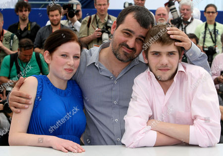 "Kitty Csikos, Kornel Mundruczo, Rudolf Frecska Actress Kitty Csikos, left, director Kornel Mundruczo, center, and actor Rudolf Frecska, right, pose during a photo call for ""Tender Son - The Frankenstein Project"", at the 63rd international film festival, in Cannes, southern France"
